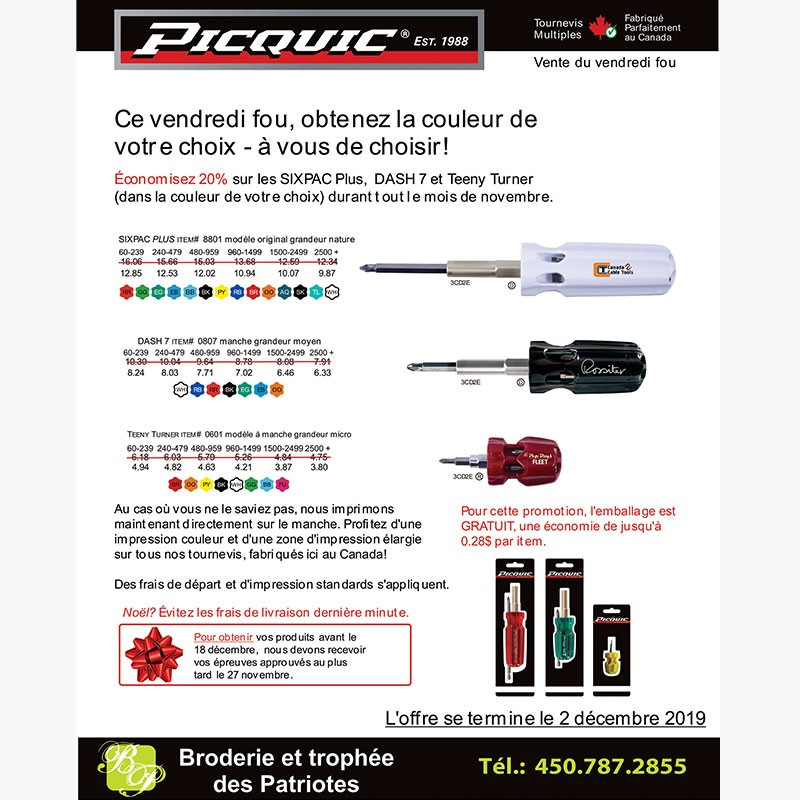 Broderie et trophee des Patriotes - Black Friday 2019 - Outils Picquic